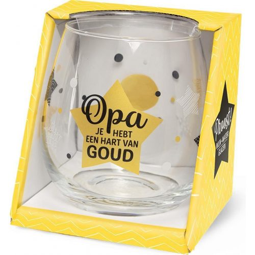 Water- wijnglas met tekst OPA je hebt een hart van goud
