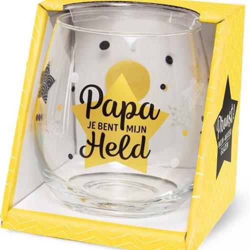 Water- wijnglas met tekst Papa jij bent mijn held