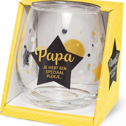 Water- wijnglas met tekst Papa jij hebt een speciaal plekje