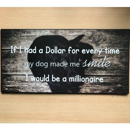 Groot tekstbord DOG made me smile I would be a MILLIONAIRE