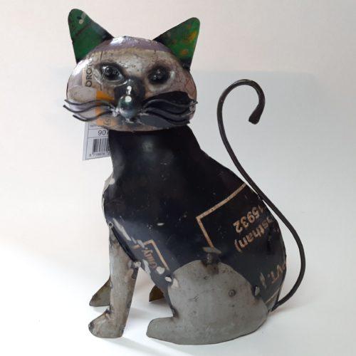 Metalen beeld kat industrieel gemaakt van oude oliedrums by Varios