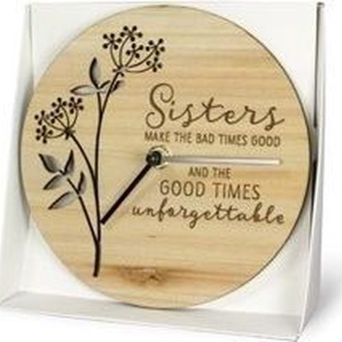 Houten klok met tekst SISTERS make the bad times good