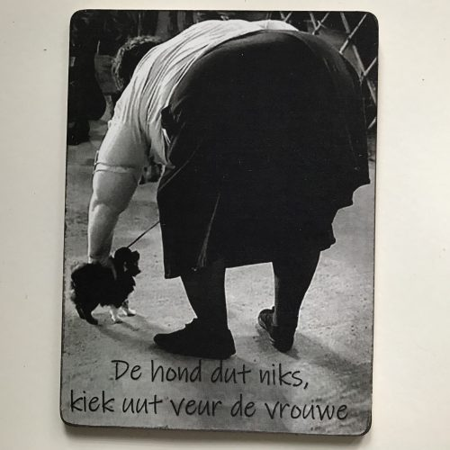 Houten tekstbord-(wens)kaart 14x19 cm De hond dut niks kiek uut veur de vrouwe