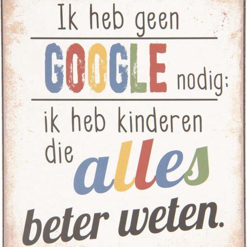 Metalen tekstbord Google en kinderen die alles beter weten