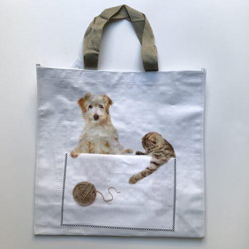 Nylon boodschappentas hond en kat met voorvakje