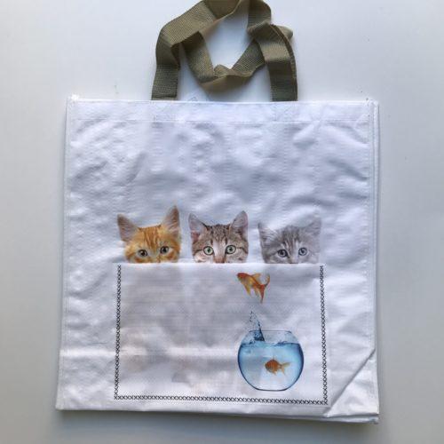 Nylon boodschappentas 3 kittens en goudvis met voorvakje
