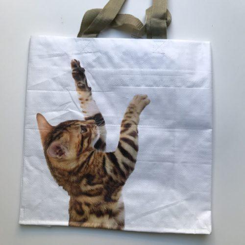 Nylon boodschappentas kat