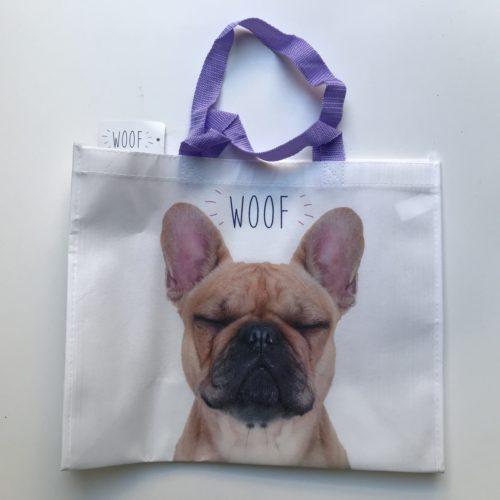 Nylon boodschappentas met hond en WOOF