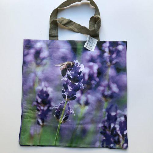 Nylon boodschappentas met paarse bloemen