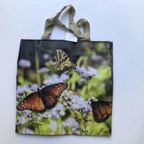 Nylon boodschappentas vlinders op bloemen