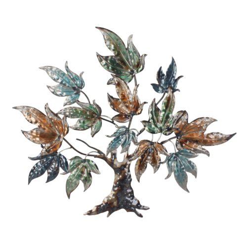 Wand deco metaal boom met bladeren in groen blauw en bruin 89 x 78cm