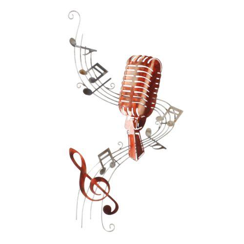Wand deco metaal muziek microfoon en notenbalk 77 x 40cm
