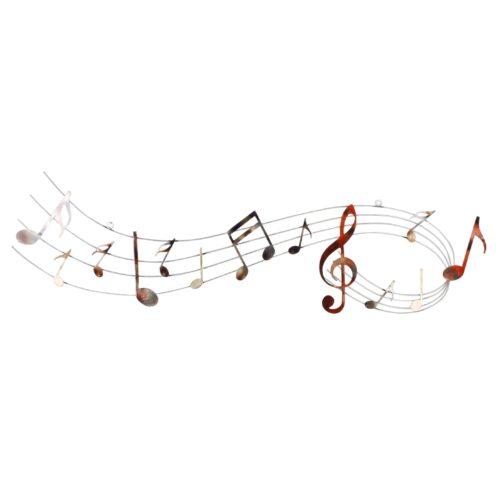Wand deco metaal muziek notenbalk 32 x 120cm