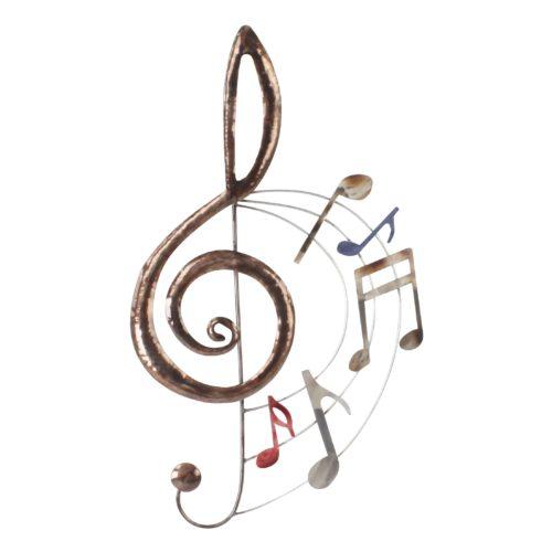 Wand deco metaal muziek sleutel en muziek noten 70 x 40cm