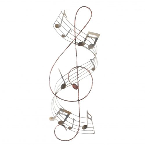 Wand deco metaal muziek sleutel en notenbalk 70 x 25cm