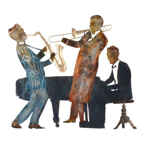 Wand deco metaal muziek trio trompet saxofoon en piano 60 x 67cm
