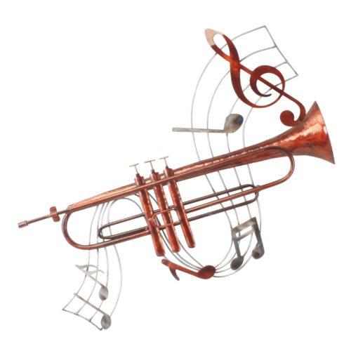 Wand deco metaal muziek trompet en muziek noten 75 x 70cm
