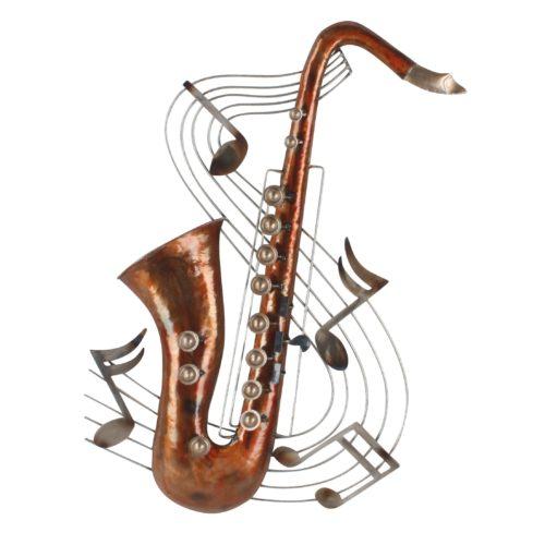 Wand deco metaal saxofoon en muzieknoten 73 x 47cm jpg