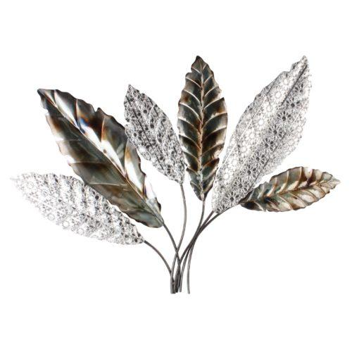 Wand deco metaal takken met bladeren metaaltinten 75 x 13cm