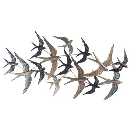 Wand deco metaal zwerm vogels wit grijs en zwart 45 x 87cm