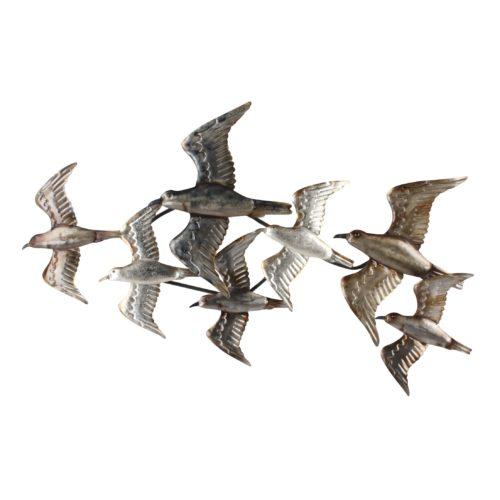 Wand deco vliegende zwerm vogels 54 x 95cm