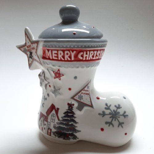 voorraadpot kerstlaars grijs met kerstman kerstster en merry Christmas