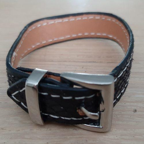 Armband riem zwart met zilverkleurige gesp