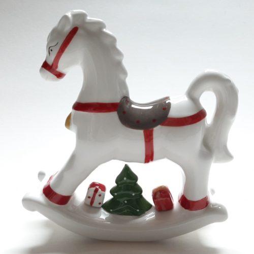 Decoratief wit hobbelpaard kerst van keramiek