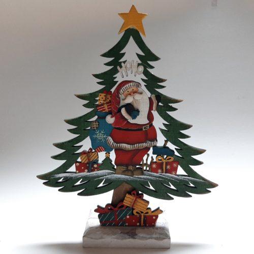 Decoratieve kerstboom met kerstman en kerstcadeaus 31cm hoog