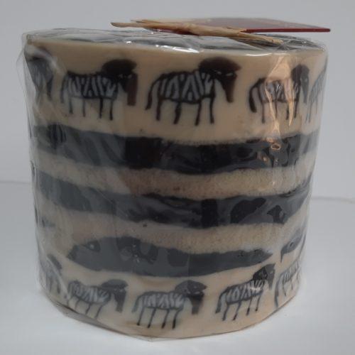 Fairtrade Swazi kaars in creme-zwart met zebras