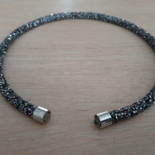 Gala ketting donker zilver met heldere kraal