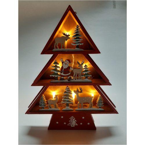 Houten kerstboom rood winters tafereel met kerstman en rendieren ledverlicht