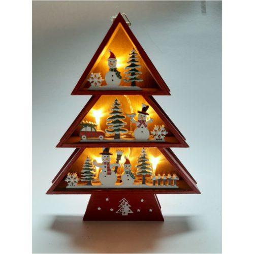 Houten kerstboom rood winters tafereel met sneeuwpoppen en kerstbomen ledverlicht