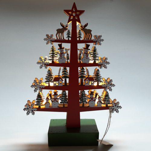 Kerstboom rood handgemaakt van hout- houtsnijwerk met ledverlichting