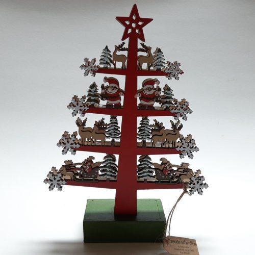 Kerstboom rood kerstman en rendieren handgemaakt van houtsnijwerk met ledverlichting