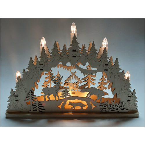 Kerstrap-kerstboog houtsnijwerk met bos rendieren wolf en stal