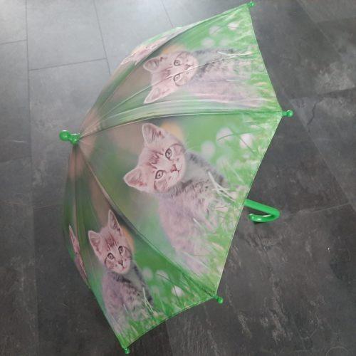 Paraplu groen met grijze kitten voor kindere