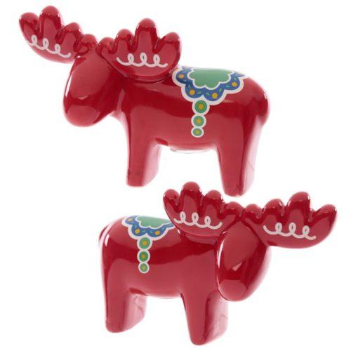 Peper en zoutstel rode elanden in mooie geschenkverpakking