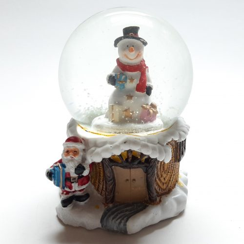 Sneeuwbol basis als boomhut met sneeuwman in bol 9cm hoog
