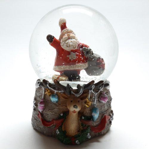 Sneeuwbol kerst eland-kerstman met cadeauzak 7cm hoog