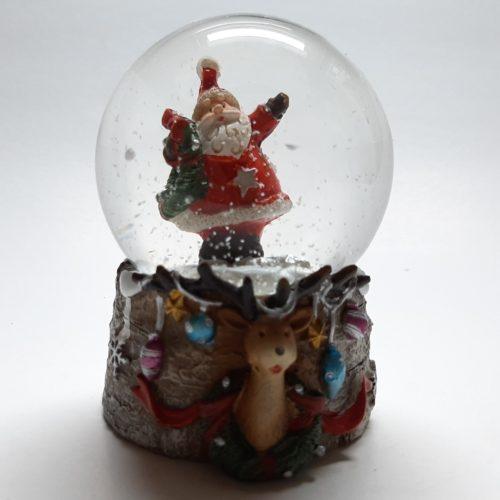Sneeuwbol kerst eland-kerstman met kerstkrans 7cm hoog