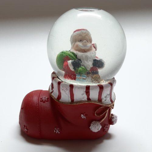 Sneeuwbol kerst laars met kerstman
