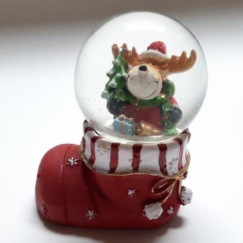 Sneeuwbol kerst laars met rendier