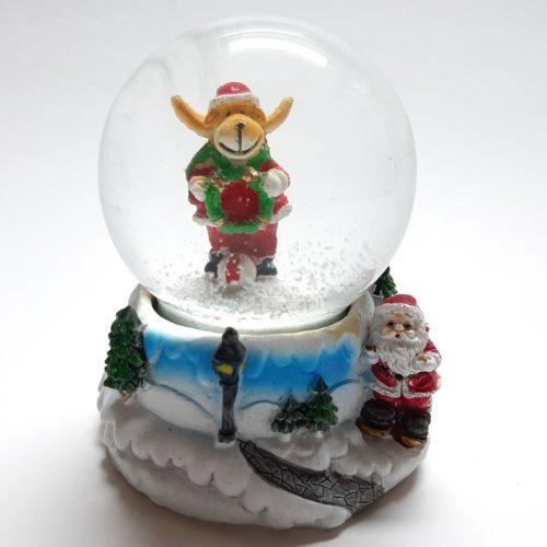 Sneeuwbol met bergpad als onderstel en rendier in de bol 7cm hoog