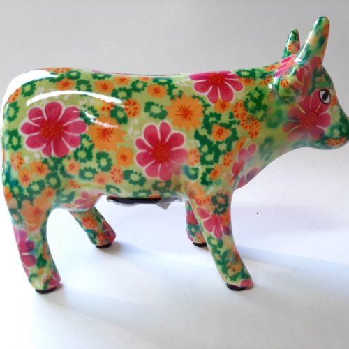 Spaarpot koe in groen met bloemenprint