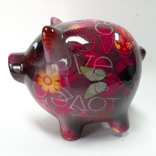 Spaarpot spaarvarken roze/zwart met bloemen print