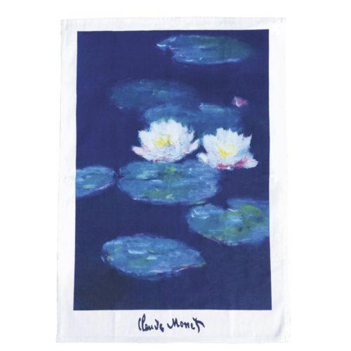 Theedoek kunstwerk Water lelies van Claude Monet