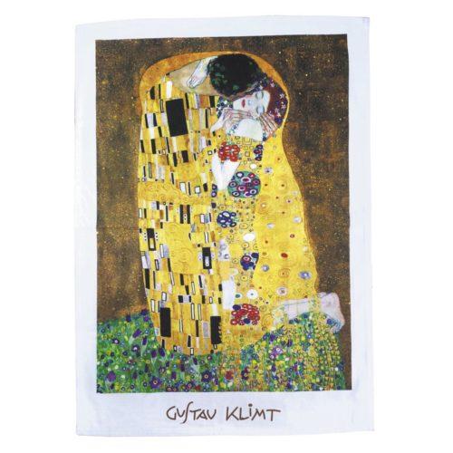 Theedoek kunstwerk De Kus van Gustav Klimt