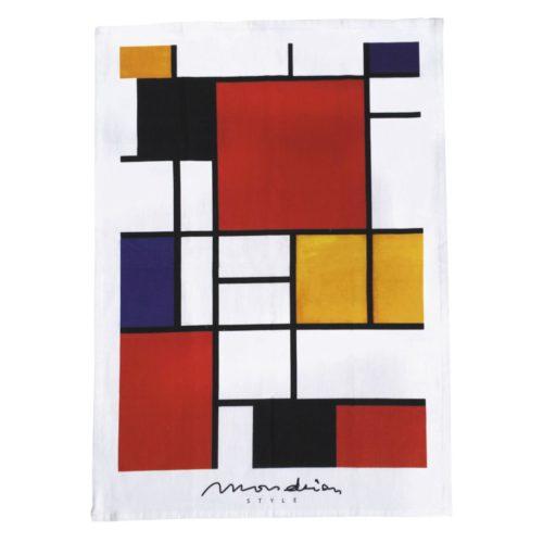 Theedoek kunstenaars Mondriaan style