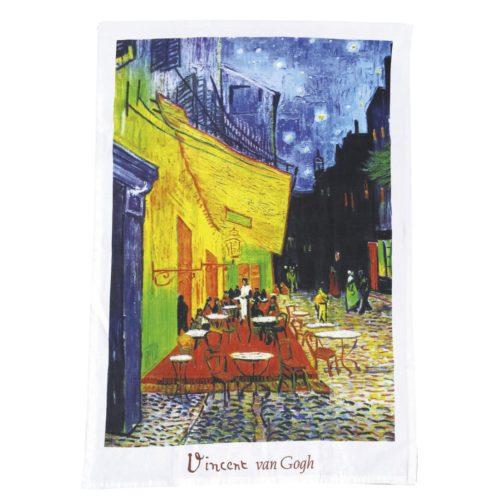 Theedoek kunstwerk Café de nuit van Vincent van Gogh